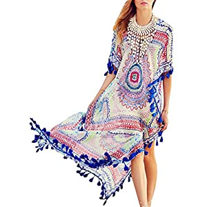 Copricostume Mare Donna Vestito Lungo Estate Boho Hippie Kaftan Tunica Etnica Kimono Abito da Spiaggia per Costumi da… 7 spesavip