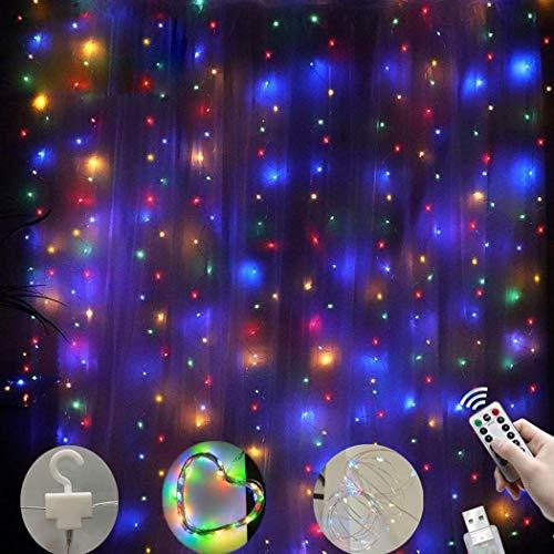 fatcatn 300 LED Tenda per Finestra Twinkle Star Telecomando USB 8 modalità String Lights Luci per Esterni