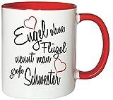 Mister Merchandise Kaffeebecher Tasse Engel ohne Flügel nennt man große Schwester Sister Familie Family Geburt Schwang