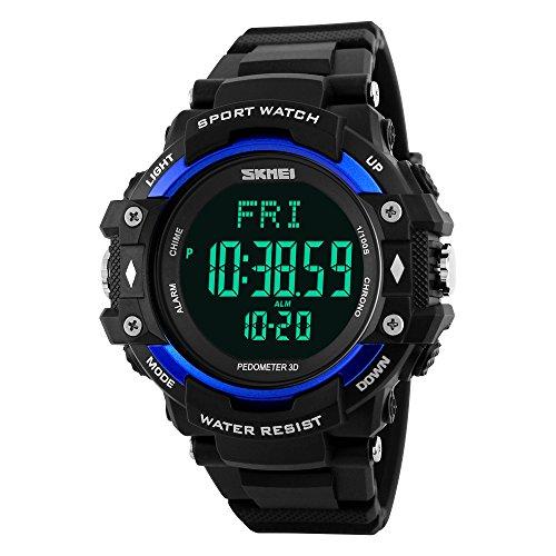 Skmei Kalorien Test Herzfrequenz Bewegung Schrittzähler Uhren 50m Wasserdicht Multifunktions-Sport Watch Armband blau