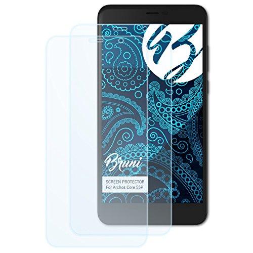 Bruni Schutzfolie kompatibel mit Archos Core 55P Folie, glasklare Bildschirmschutzfolie (2X)