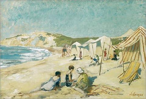 Leinwandbild 70 x 50 cm: Der Strand von Pointe St Gildas von Henri Lebasque / Bridgeman Images - fertiges Wandbild, Bild auf Keilrahmen, Fertigbild auf echter Leinwand, Leinwanddruck