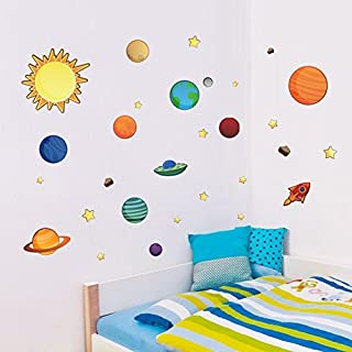 Colorful Planets in The Space Solar System with Star Wall Stickers Removable Wall Decal for Girls and Boys Nursery Baby Room Children's Bedroom by AWAKINK