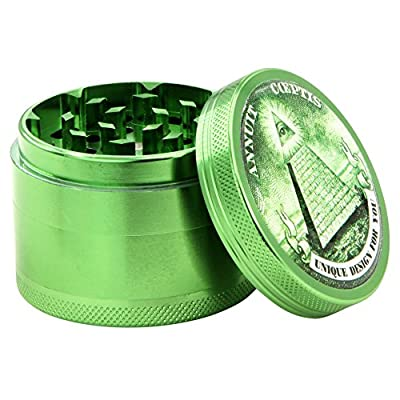 DCOU New Design Premium Aluminum Herb Grinder Tobacco Spice Grinder with Pollen Catcher and Scraper included - 2.2 Inches, 4 Piece