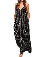 ZANZEA Lady V-neck Polka Dot Pocket Long Maxi Dress Boho Casual Cocktail Beachwear