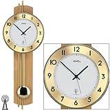 AMS 5266 relojconstellation/18 reloj de pared con péndulo de radio, madera de haya tratado con posterior, barras de latón
