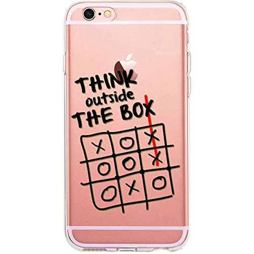 GIRLSCASES® | iPhone 6-6S Plus Hülle | Mit coolen Spruch Aufdruck Motiv | Think outside the box | Case transparente Schutzhülle | Farbe: schwarz | think.outside.the.box - schwarz