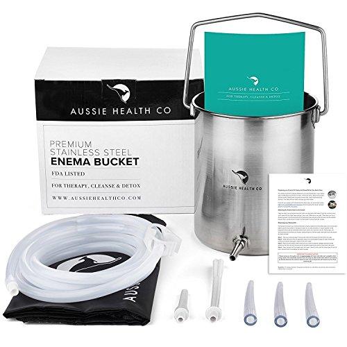 Aussie Health Co Kit de Enema de Cubeta de Acero Inoxidable No Tóxico. 2.0 Litros Libre de Ftalatos y Bisfenol (BPA) De Uso Caseropara Enemas, Café, Agua, Colon, Desintoxicación, Lavativas.