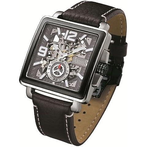 ARBUTUS New York da uomo a mano avvolgimento orologio AR710scheletro quadrante, cinturino in pelle, colore: (Wall Street Skeleton)