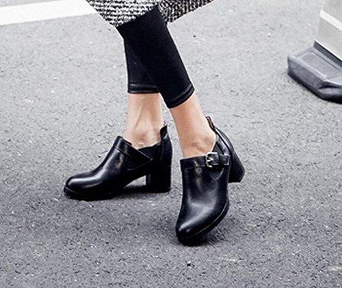 Mee Shoes Damen bequem chunky heels runder toe Pumps Schwarz