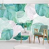 BIZHIGE Benutzerdefinierte Moderne 3D Foto Tapete Wandbilder 3D Handbemalt Aquarell Blatt Wohnzimmer...
