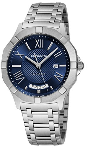 Concord da uomo 40mm Steel Bracelet & case Swiss Quartz Blue Dial Watch...