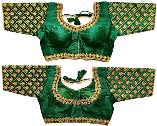 Women's Green Colour Ready made Blouse Maggam Work Blouse Designs For Saree And Lehenga (Size 38+4inch margin) (green)