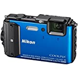 "Nikon Coolpix AW130 - Cámara digital compacta de 16 MP (pantalla de 3"", zoom optico 4x) azul - kit con funda silicona, soporte bici y cinta de pecho"