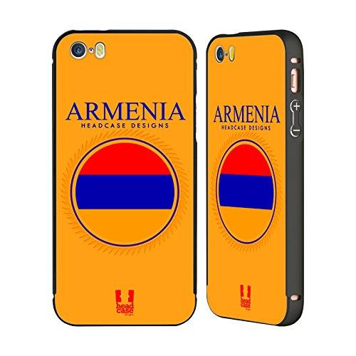 Head Case Designs Israelische Fahne Fahnen Flicken Schwarz Rahmen Hülle mit Bumper aus Aluminium für Apple iPhone 5 / 5s / SE Armenische Fahne