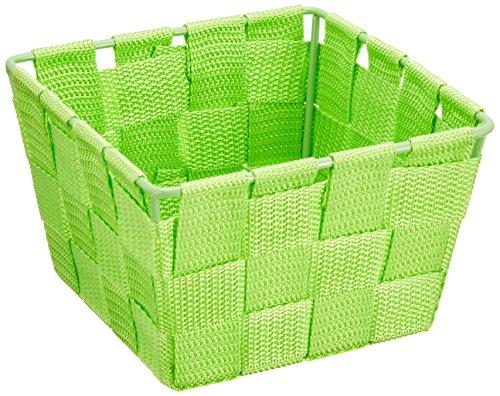 WENKO 20367100 Aufbewahrungskorb Adria Mini Grün - Badkorb,  quadratisch,  Kunststoff-Geflecht,  Polypropylen,  14 x 9 x 14 cm