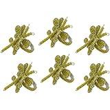 Handmade Butterfly Beaded Napkin Rings Set Of 6,Olive Green