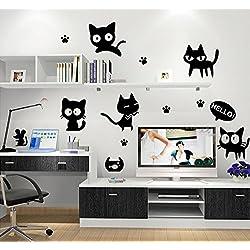 ufengke® Lindo Gato Negro Huella Ratón Pegatinas de Pared, Vivero Habitación de Los Niños Removible Etiquetas de La Pared / Murales