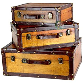 Vintiquewise tm old vintage suitcase decorative trunk set - Vintage suitcase ...