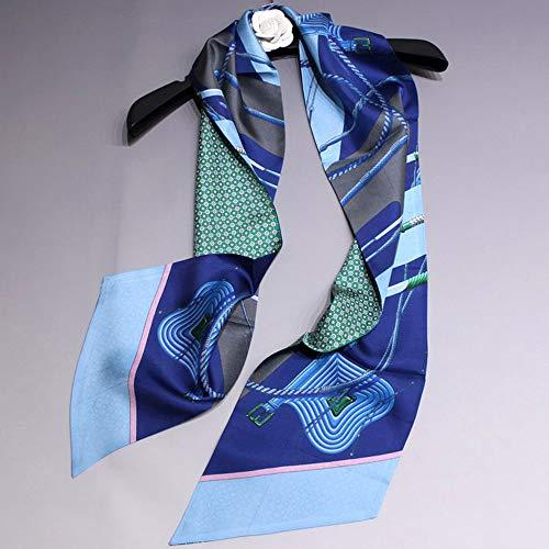 Seide Luxus Streifen (Xingling Frau Seide doppelseitige Twill schmalen Streifen Schal, Mode Temperament Langen Schal Mehrzweck-Schal, Luxus Geschenkbox 160 * 21cm,BLCE-02)
