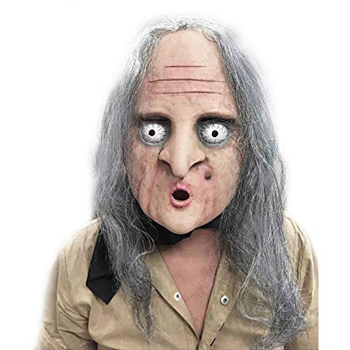 XDDXIAO Gruselige Maske Halloween Horror Grimasse Hexe Maske volles Gesicht atmungsaktiv alte Frau volles Gesicht Festival Cosplay Kostüm Party Supplies