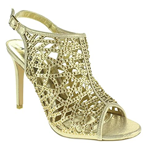 Women Ladies Laser Cut Fashion Ankle Strap Peep Toe Wedding Bridal Evening Party Prom High Heel Gold Sandals Shoes Size