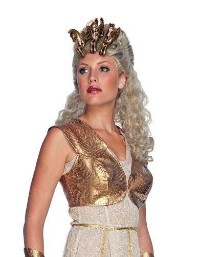Kampf der Titanen Athena Deluxe Perücke Kopfschmuck Damen Damenperücke (Kostüme Göttin Erwachsene Ruby)