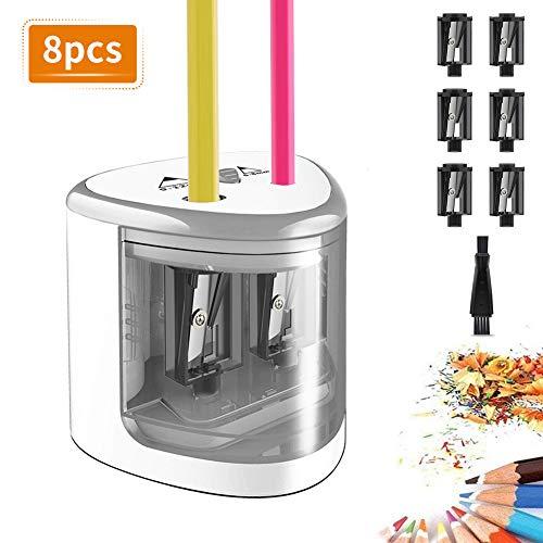 TOPERSUN Automatischer Bleistiftspitzer Elektrischer Anspitzer Doppelte Löcher für 6-12mm Stift für Kinder Klassenzimmer, Haus und Büro Schreibhilfen