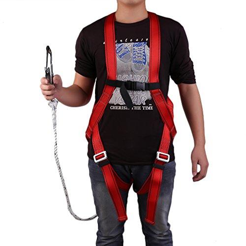 Homgrace Fallschutz-Set Absturzsicherung Vollkörper Auffanggurt Fallschutz Geschirr Safety Dachdeckerset Fallsicherung Schutzausrüstung mit 1,5M Seil, 300kg Tragfähigkeit, Rot