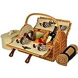 Picknickkorb aus Yorkshire Willow mit Service für 4 Personen mit Decke - London Plaid