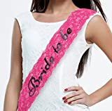Bachelorette Sash - Bride to Be - Stylish Lace in White, Pink, Or Black - Letters Made with Sparkling Laser Technoloy - Bachelorette Party Favours Hen Party Bridal Shower Supplies (Pink)
