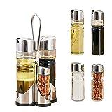 Yunsunshine Salz- und Pfefferstreuer, Öl- und Essig-Flasche, Edelstahl/Glas Salz, Pfeffer, Öl und Essig, Mit passendem Ständer