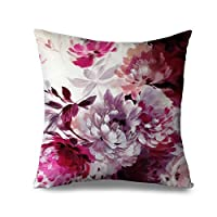 Popeven Vintage Cushion Cover Flower Blooming Decorative 45x45 cm Rose Flower Throw Pillow Case Square Canvas Accent Pillow Sham for Sofa and Couch Living Room Decor Pillowcase Standard
