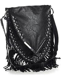 Big Handbag Shop Sac bandoulière en tissu avec franges et clous