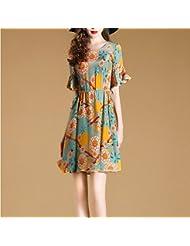 Women'S Robe Été, L'Europe Et Les États - Unis Taille Women'S Clothing Est Mince Feuilles Imprimés Imitant La Soie.