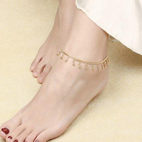Onefeart Vergoldet Fußkette für Frauen Mädchen 18k Vergoldet Glocke Fußkette Modeschmuck 26CM Gold