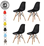 MCC Retro Design Stühle LIA im 4er Set, Eiffelturm inspirierter Style für Küche, Büro, Lounge, Konferenzzimmer etc., 6 Farben, KULT (schwarz)