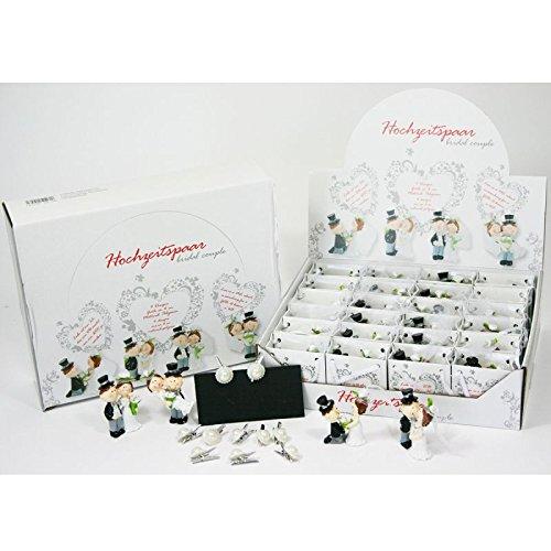 Annastore 48 Stück Hochzeitspaar in Tüte inkl. 10 x Clip mit Perlen