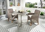 Destiny Long Island Sessel - Loft Tisch Balkonset HPL Platte Gartentisch 70x70 Edelstahl