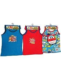 SuperWings Donnie, Jett y Jerome 6 Piezas. Conjunto de Ropa Interior 100% algodón Compuesto por Camisa y Bragas en Rojo, Azul y Blanco, para niños