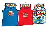 Super Wings Donnie, Jett y Jerome 6 piezas. Conjunto de ropa interior 100% algodón compuesto por camisa y bragas en rojo, azul y blanco, para niños (140)