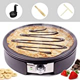 Duronic PM152 Crepiera 1500 W con piastra per crepes antiaderente da 34 cm - Accessori inclusi - Temperatura regolabile - Ideale per preparare pancake, crepes, frittate