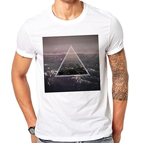 Illuminati Triangle Art Majestic City Square Herren T-Shirt Weiß