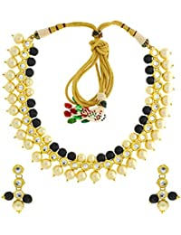 Anuradha Art Golden Finish Styled With Black Colour Beads Traditional Necklace Set For Women/Girls