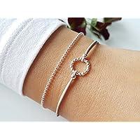 Armband Ring Silber 925 Kugelkette Freundschaftsarmband Geschenk Geschenkidee Freundin Kreis