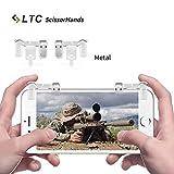 """LTC """"ScissorHands"""" Gatillos M2 para juegos de teléfono móvil, Botones de metal, disparo sensible y puntería como L1R1 Joystick para PUBG, para Android o para teléfonos inteligentes iOS- Transparente"""