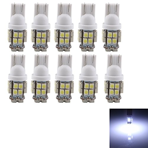 Grandview 10pcs T10 LED White 20-SMD 1210 W5W LED Bulbs Super Bright 194 168 2825 Wedge Replacement Lights Side Marker Car Interior Dashboard Parking Light 120 Lumens 12V