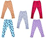 #1: IndiWeaves Girls Super Soft and Stylish Cotton Printed Leggings(Pack of 5)