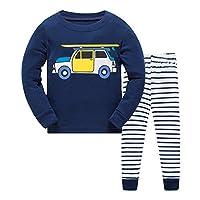 Qtake Fashion Boys Pajamas Children Clothes Set 100% Cotton Little Kids Pjs Sleepwear (6-7 Years, Navy blue1)