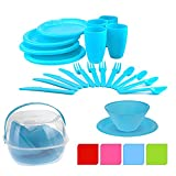 30 Piece Plastic Picnic Camping Party Dinner Plate Mug Cutlery Set Storage Box